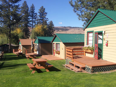 Charming cabins with view of nearby harbor at Fisherman's Cove's Resort.