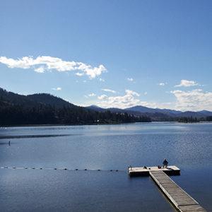 Swimming area and fishing dock enjoy beautiful views at Tiffany's Resort.