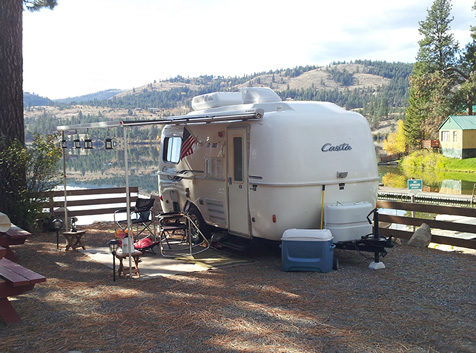 Trailer at Fisherman's Cove Resort, Curlew Lake, WA