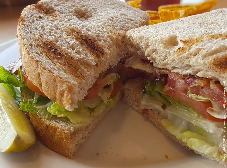 Tangy BLT sandwich, served with pickle and chips.