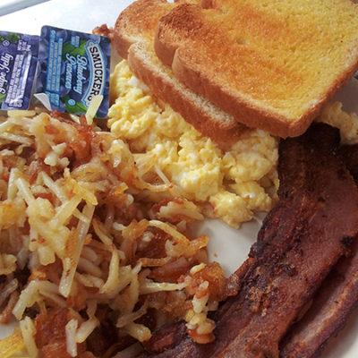 Bacon, scrambled eggs, toast,