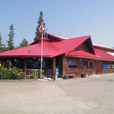 Pine Grove Junction distinctive red metal roof.