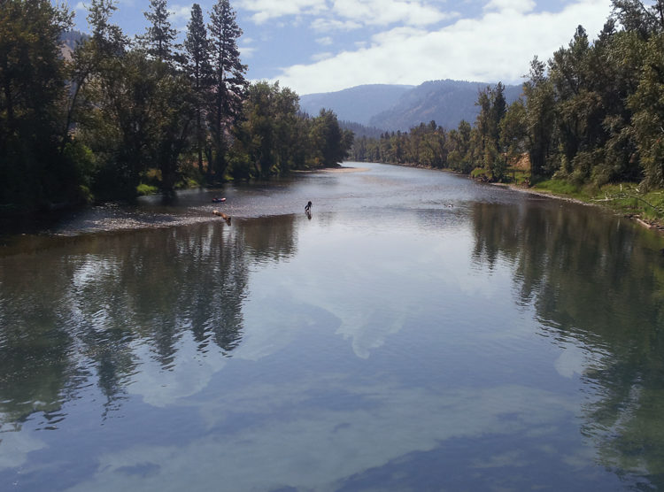 View from Customs Road Bridge of a fisherman on Kettle River, WA.