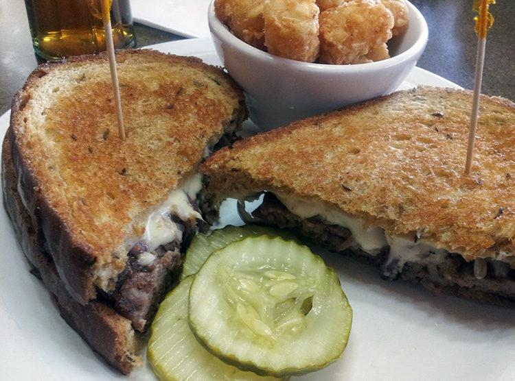 Pine Grove Junction's grilled patty melt sandwich.