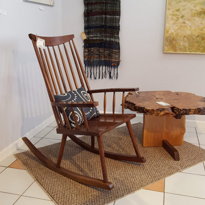 Display of handmade furniture at Gold Mountains Gallery in Republic, WA.