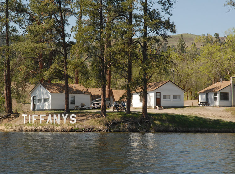 Tiffany's Resort and cabins on the waterfront. Photo taken from Curlew Lake, WA.