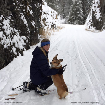 Christine Hall, with her corgi Darcy cross-country skiing along the rail trail.  Photo: Kelley Shelton