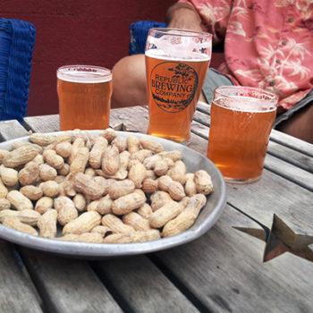 Republic Brewing Company\'s Pale Ale and a pan of peanuts. Republic, WA.