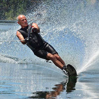 Water skier leaning in.