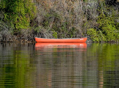 Canoe on Wiseman Island on Curlew Lake, WA