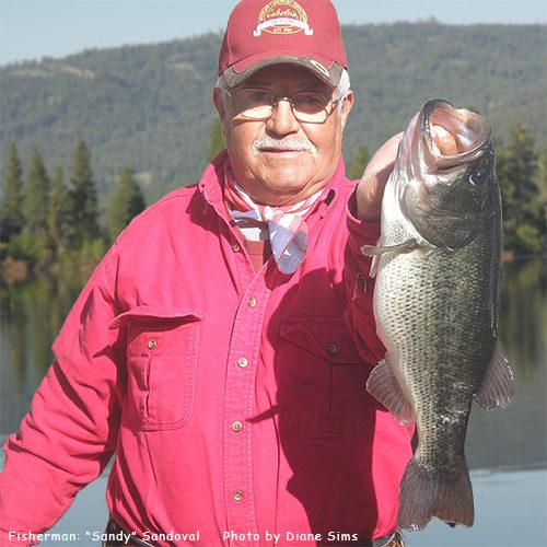Curlew Lake. Sandy Sandoval holding largemouth bass. Photo: Diane Sims