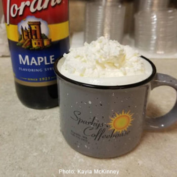 Sparky's Coffeehouse\'s double maple latte.