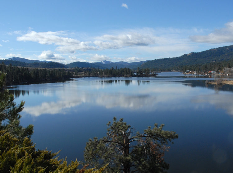 Southern view of Curlew Lake. Wiseman Island in center of view.